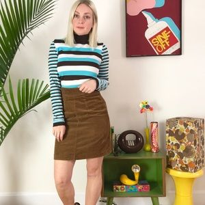 "Vintage 70s brown corduroy micro mini skirt 24/25"""